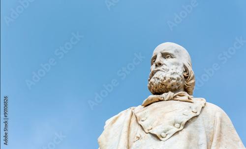 Poster Artistiek mon. Garibaldi statue in Trapani, Italy