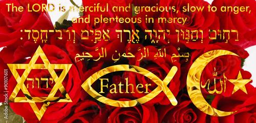 фотография  Three world religions as symbols with merciful