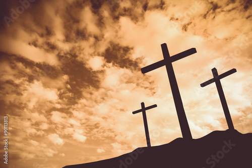 Vintage tone of Three crosses on a hill Wallpaper Mural