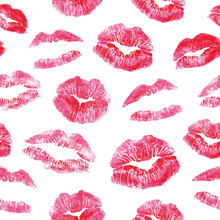 Seamless Pattern - Red Lips Ki...