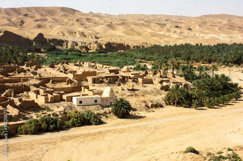 Poster Tunesië Villaggio area di Chebika Tunisia