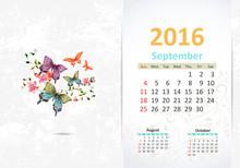 Calendar For 2016, September