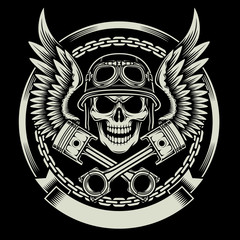 Fototapeta Vintage Biker Skull with Wings and Pistons Emblem