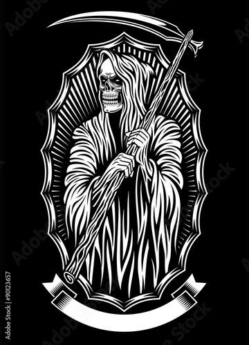 Grim Reaper Vector Art Canvas Print