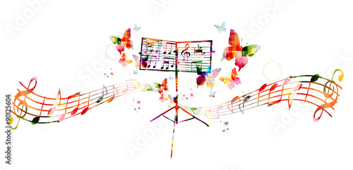 Fototapeta Colorful music stand with butterflies obraz