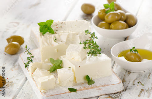 Feta cheese with green olives.