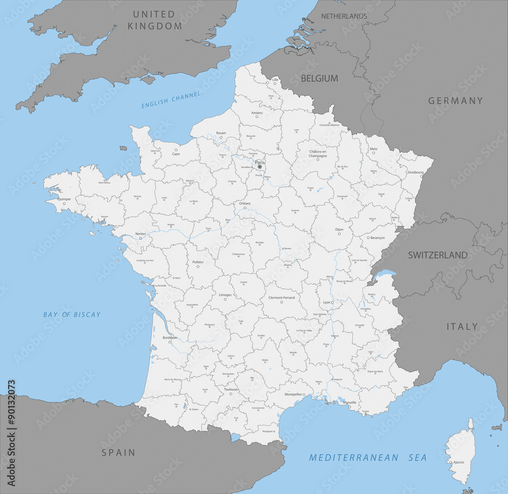 Photo  Highly detailed map of French county, vector.