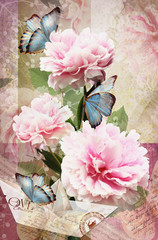 Fototapeta Peonie Postcard flower. Congratulations card with peonies, butterflies and paper boat. Beautiful spring pink flower. Can be used as greeting card, invitation for wedding, birthday and other holiday happening