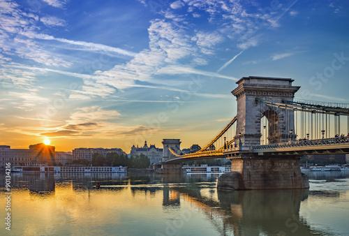Aluminium Prints Budapest sunrise at Budapest city and Chain Bridge - Budapest - Hungary