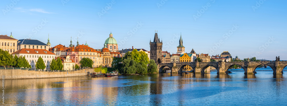 Fotografie, Obraz  Panorama of Prague city skyline, Czech Republic