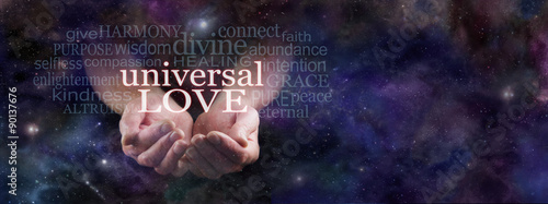 Photo  Sharing Universal Love  -  Man's cupped hands emerging from dark blue deep space