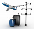 Signpost, suitcases and airplane. Travel concept. .