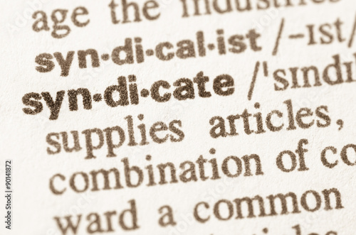 Photo  Dictionary definition of word syndicate
