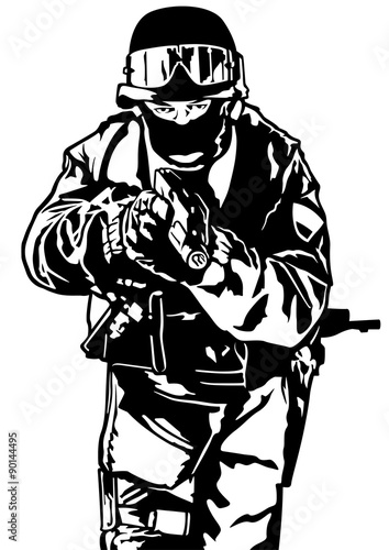 Fényképezés  Special Police Forces - Black and White Illustration, Vector