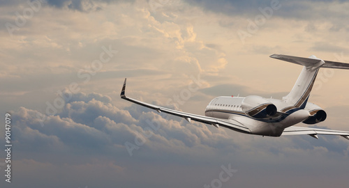 Private jet in flight Canvas-taulu