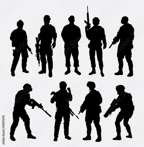 Fotografia  Soldier military with weapon pose silhouette