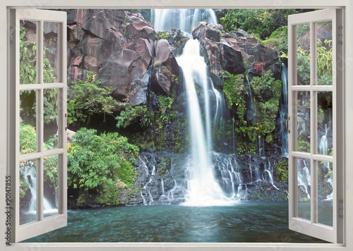 Open window view to Cormoran waterfall, Reunion island