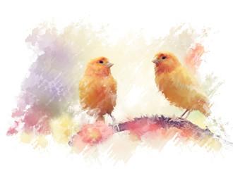 Panel Szklany Romantyczny Yellow Birds Watercolor