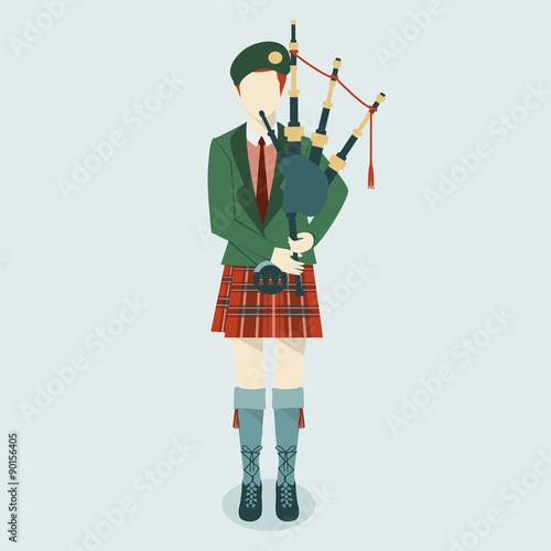 Foto Scottish Bagpiper in uniform flat icon. Scottish tradition