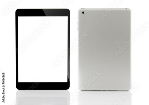 tablet computer front and rear isolated on white background