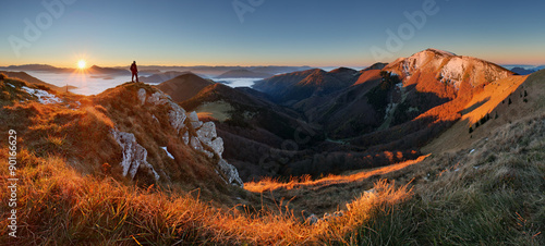 Mountain panorama before sunrise in Slovakia