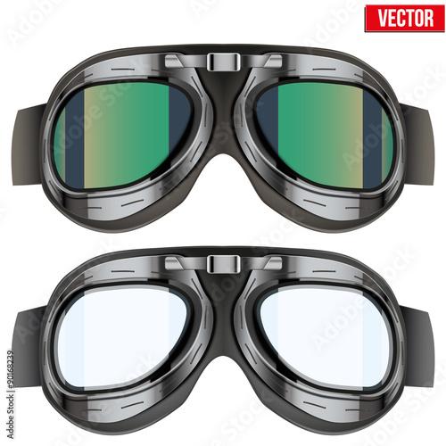 Foto Retro aviator pilot glasses goggles. Isolated on white