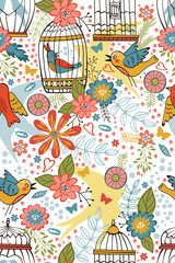 Colorful blooming flowers seamless pattern