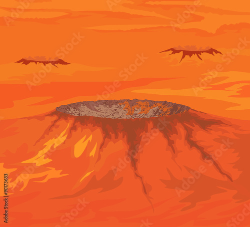 The craters of Venus planet vector nature background Fototapete