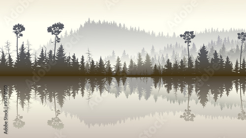 Fototapeta Illustration of forest hills with its reflection in lake