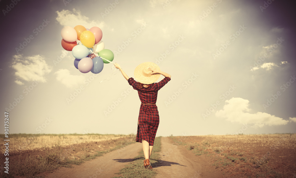 Fototapety, obrazy: girl with multicolored balloons and bag