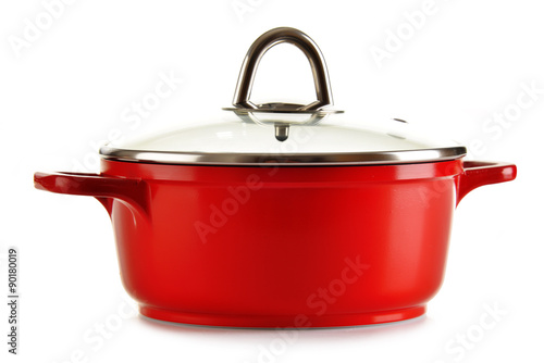 Fotografia Steel pot isolated on white background