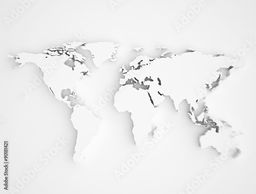 Recess Fitting World Map World map 3D