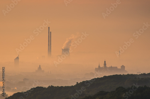 Photo  Krakow Old City seen from the Pilsudski mound in the fog early morning