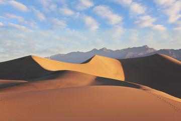 Fototapeta na wymiar  Sand dunes illuminated at sunrise