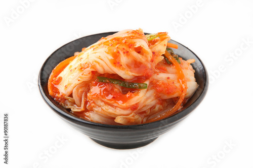 Kimchi (Korean food) close up on white background