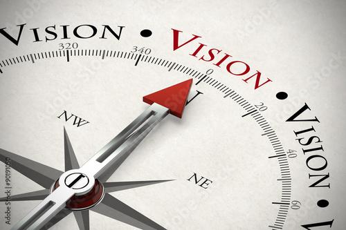 Fotografía  Kompass zeigt in Richtung Vision