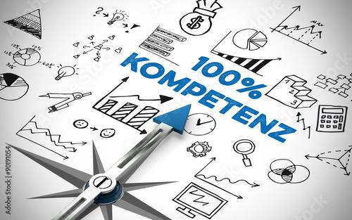 Fotografía  Kompass zeigt auf 100% Kompetenz