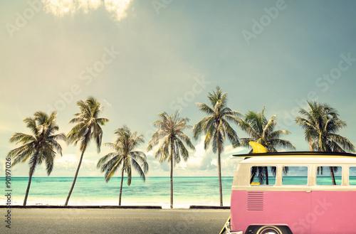 Fotografie, Obraz  Veteránem na pláži s surf