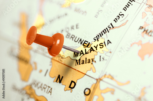 Fotografia  Location Malaysia. Red pin on the map.