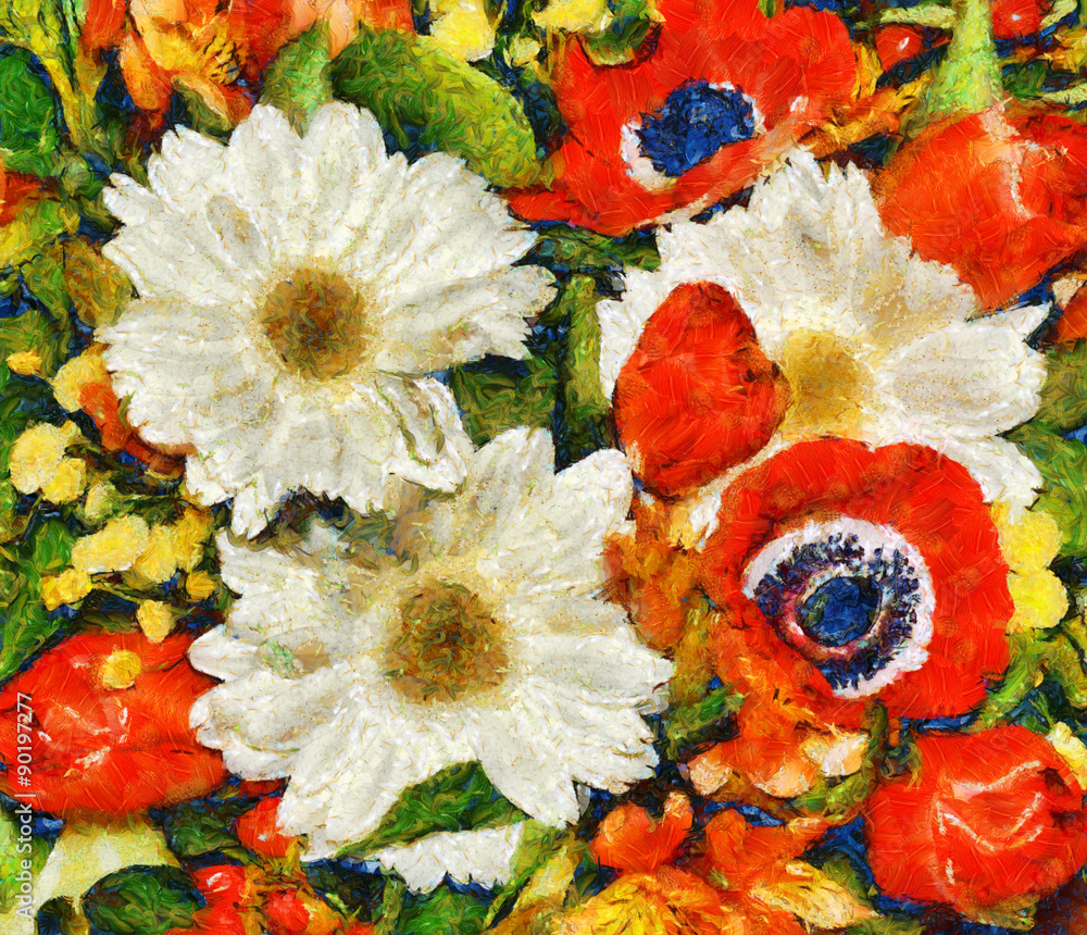 bouquet of flowers spring painting