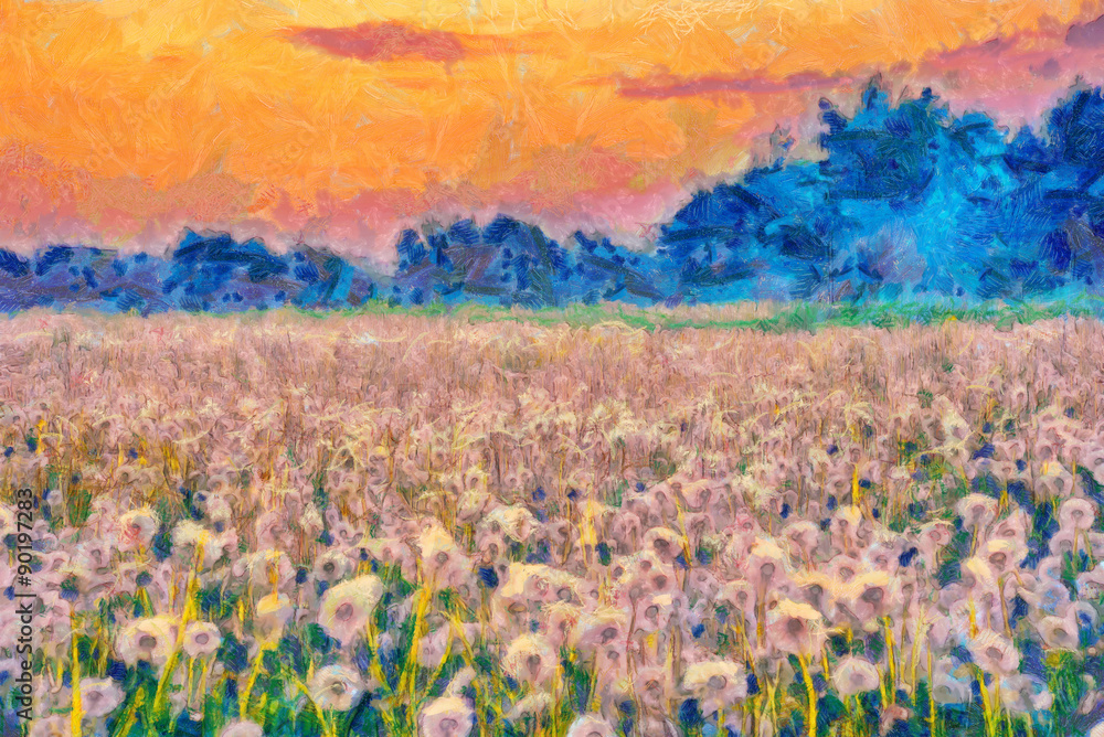 Summer meadow blow balls landscape painting