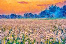 Summer Meadow Blow Balls Landscape Painting
