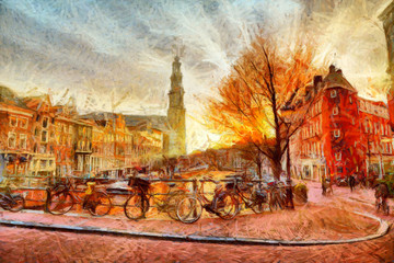 FototapetaAmsterdam canal at evening impressionistic painting