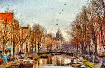 FototapetaAmsterdam canal at morning impressionistic painting