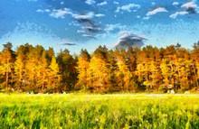 Autumn Forest Landscape Impressionist Oil Painting
