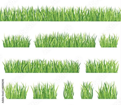 Fototapeta Grass set Floral summer border set obraz na płótnie