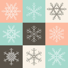 Set Of Nine Vector Simple Linear Snowflakes Icons On Multicolor