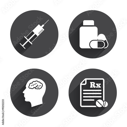 Photo  Medicine icons. Tablets bottle, brain, Rx.