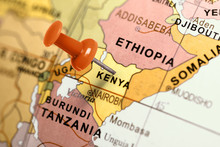 Location Kenya. Red Pin On The...