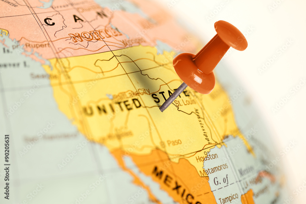 Fototapeta Location United States. Red pin on the map.